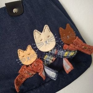 Chambray Cat Patch Bag with Buckle Straps